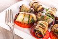 Baked eggplant with vegetables a fresh and delicious Stock Images