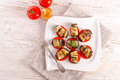 Baked eggplant with vegetables a fresh and delicious Stock Photography
