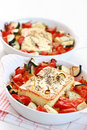 Baked Feta cheese with vegetables Royalty Free Stock Photo