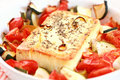Baked Feta cheese with vegetables Stock Photography