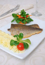 Baked fillet of sea bass Stock Photos