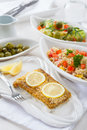 Baked fish fillet wih couscous salad Royalty Free Stock Photo