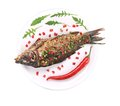 Baked fish on a plate with vegetables and lemon white background Royalty Free Stock Photos