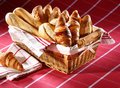 Baked goods in the basket Stock Photos