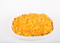 Baked macaroni and cheese in casserole dish hot a white Stock Image
