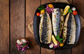 Baked mackerel with herbs Royalty Free Stock Photo
