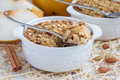 Baked oatmeal with nuts, almond milk, spices and asian pear Royalty Free Stock Photo