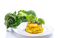 Baked omelet with brussels sprouts on a white background Stock Image