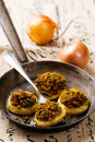 The baked onions with a grain crumb style vintage selective focus Stock Images
