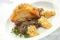 Baked pork belly with lentil bacon green and yellow Royalty Free Stock Photo