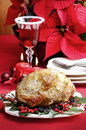 Baked pork with dried plums on christmas table Royalty Free Stock Photography