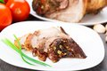 Baked pork leg delicious on a plate Royalty Free Stock Photos