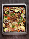 Baked pork meat with vegetable Stock Image