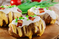 Baked potato with cheese Royalty Free Stock Photo