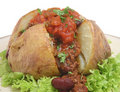 Baked Potato with Chili & Salsa Royalty Free Stock Photos