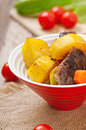 Baked potato with meat Royalty Free Stock Image