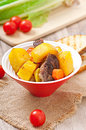 Baked potato with meat Royalty Free Stock Photo
