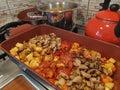 Fried vegetables - mushrooms, potatoes, zucchini