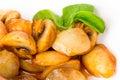 Baked potatoes and mushrooms.