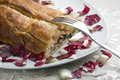 Baked Roll Stuffed with Radicchio Stock Photography