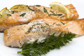 Baked salmon with chive Royalty Free Stock Photography