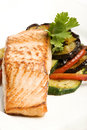 Baked salmon with eggplant and peppers Royalty Free Stock Photos
