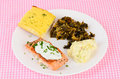 Baked salmon with greens creamy sauce sprinkled chives on steak collard and potato salad on white plate against pink gingham Stock Photography