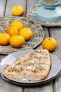 Baked salmon on grey plate Royalty Free Stock Photo