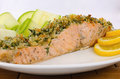 Baked salmon with a spicy crust parmesan Stock Photo