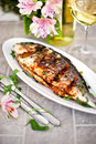 Baked sea bream and glass of white wine on the table Stock Images