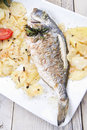 Baked sea bream main course of fish Royalty Free Stock Image