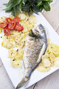 Baked sea bream main course of fish Royalty Free Stock Photography