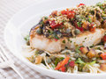 Baked Sicilian Swordfish with Linguine Stock Photography