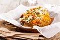 Baked stuffed sweet potato with rice Royalty Free Stock Photo