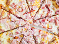 Baked tasty pizza with cheese and ham Royalty Free Stock Photo