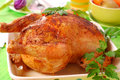 Baked whole chicken Royalty Free Stock Photo