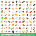 100 bakehouse icons set, isometric 3d style