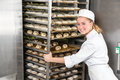 Baker at bakery putting rack of fresh dough in refrigerator Royalty Free Stock Photo