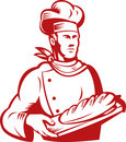 Baker Chef carrying a loaf of bread Royalty Free Stock Images