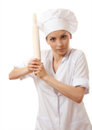 Baker chef woman holding baking rolling pin isolated on white Royalty Free Stock Images