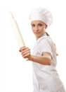 Baker chef woman holding baking rolling pin isolated on white Royalty Free Stock Photography