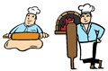 Baker makes bread illustration of a stand in two positions Royalty Free Stock Photos