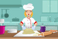 Baker making dough a vector illustration of in the kitchen Royalty Free Stock Image