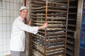Baker pushing rack full of bread into the oven in bakery or bakehouse putting with baguettes and buns Stock Photo