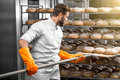 Baker putting with shovel bread loafs at the manufacturing handsome in uniform orange working gloves from oven on shelves Stock Photos