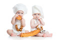 Bakers kids boy and girl little babies isolated Stock Photo