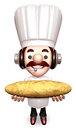 Bakers Lift a Baguette. 3D Chef Character Stock Photography