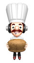 Bakers lift a bread work and job character design series Royalty Free Stock Images