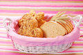 Bakery assortment in basket Stock Photos
