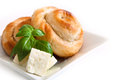 Bakery background cheese pie and basil Stock Image